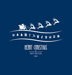 Merry christmas elements santa sleigh blue vector