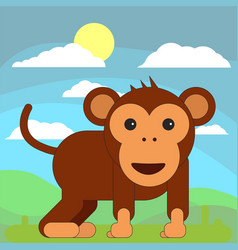 monkey in cartoon flat style on the background of vector image