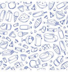 monochrome hand drawn dairy products vector image