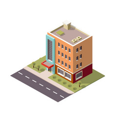 multi-storey building skyscraper in isometric vector image