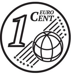 One euro cent coin vector