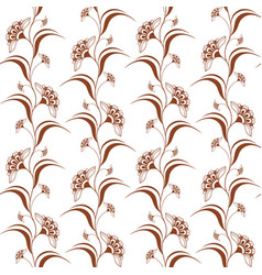 Ornamental seamless pattern with brown henna vector