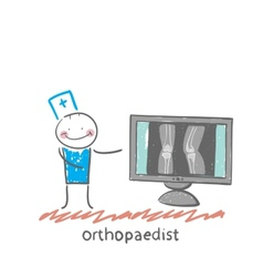 Orthopaedist on the monitor shows an x-ray vector
