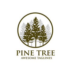 pine tree outdoor travel green silhouette forest vector image