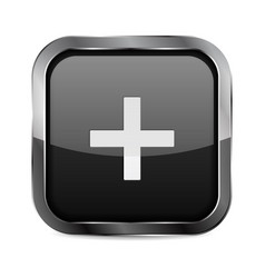 Plus button black glass 3d icon with metal frame vector