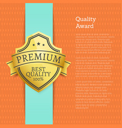 quality award premium best guarantee golden label vector image
