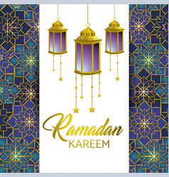 Ramadan kareem and card with lamps and stars vector