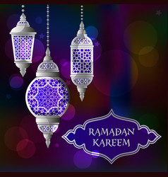 ramadan kareem background with traditional lamps vector image