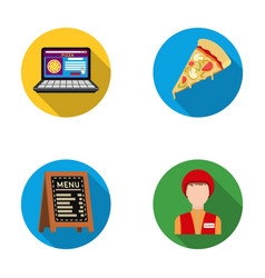 Reception of orders a piece of pizza a menu in vector