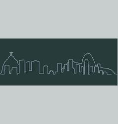 rio de janeiro single line skyline vector image