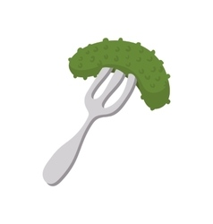 Salted cucumber on a fork icon in cartoon style vector