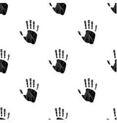 seamless pattern with human palm on white vector image