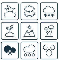 set of 9 ecology icons includes water drops vector image