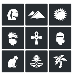 Set of Egypt Icons Sphinx Dune Sun vector image