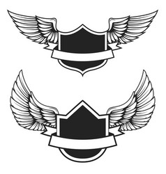 Set of the empty emblems with wings design vector