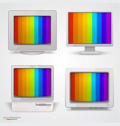 set retro computers vector image