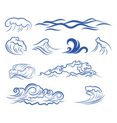 set sea waves collection stylized waves vector image