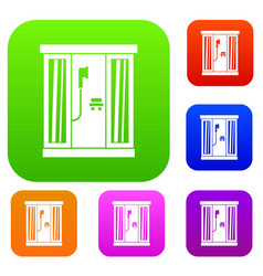 shower cabin set collection vector image