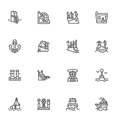Simple line icons for ships and sea ports vector image