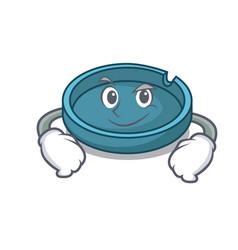 smirking ashtray character cartoon style vector image