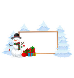 Snowman with holiday frame vector