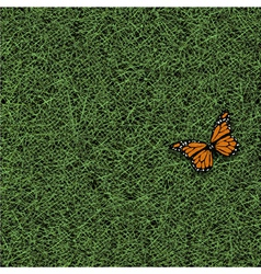 Stylized grass and butterfly vector