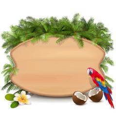 tropics wooden board vector image