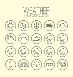 Weather Linear Icons Collection vector