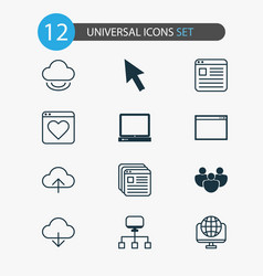 web icons set with cloud upload cursor arrow and vector image