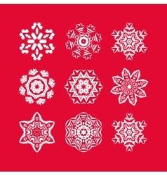 White snowflakes set vector image