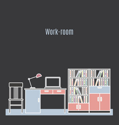 work room interior design vector image