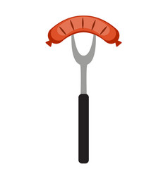 bbq icon with grill tools and sausage vector image vector image