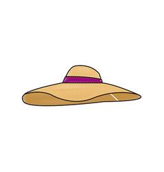 beautiful hat summer sun floppy image vector image