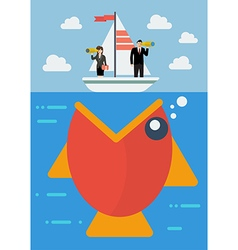 Big fish prepare to eat careless business people vector image vector image