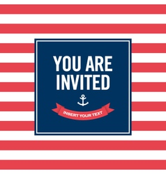 Happy birthday invitation card sailor theme vector image vector image