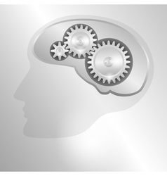 Human head with a mechanical brain vector image vector image