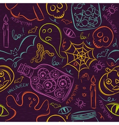 Seamless Pattern with color Halloween ghost skull vector image