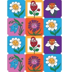 Colorful flowers fun collection pattern for kids vector image