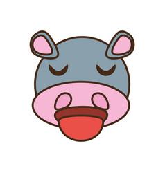 Cute hippo face kawaii style vector