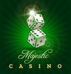 gambling dice casino poster on green vector image