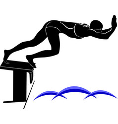 image of a swimmerit is drawn in the style of vector image
