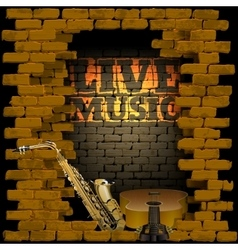 live music brick wall saxophone and guitar vector image vector image