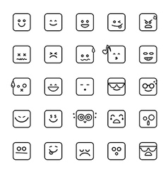 Collection of difference emoji line linear icon on vector image