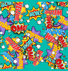 comic book words pop art background seamless vector image