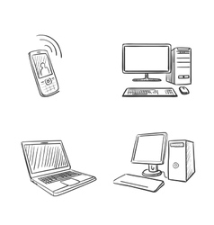 hand draw doodle computer laptop and phone vector image