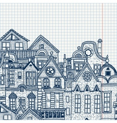 Hand-drawn old town vector image