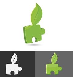 Leaf Green Jigsaw Icon Symbol vector image