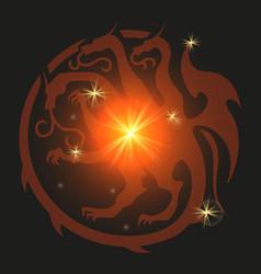 dragon emblem heraldic style vector image vector image