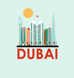 dubai travel background vector image vector image
