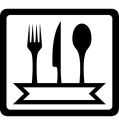 icon with utensils for restaurant foods vector image vector image